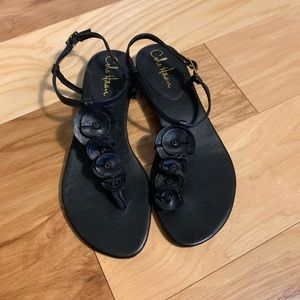 Cole Haan Nike air leather floral thong sandals. 7